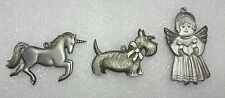 Spoontiques UNICORN, SCOTTIE DOG, & ANGEL Pewter Christmas Ornaments     SpD