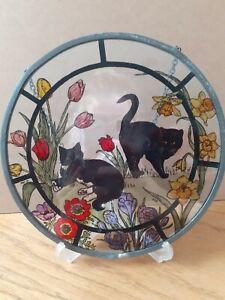 Decorative Hand Painted Stained Glass Window Sun Catcher Garden Cat Design 20cm