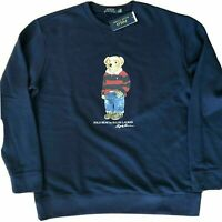 POLO RALPH LAUREN Men's SZ XL Navy Blue Denim Rugby Bear Crew Sweatshirt