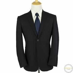 Aquascutum Navy Blue Wool Serge Silk Lined Dual Vents 2Btn Jacket 40R