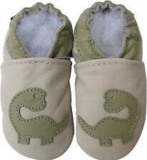 carozoo dinosaur cream 0-6m new soft sole leather baby shoes