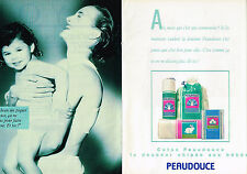 PUBLICITE ADVERTISING 064  1985  PEAUDOUCE  couches accessoires bébé (2 pag