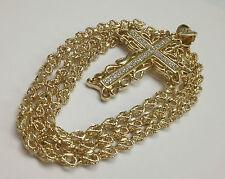 Cruz con Zirconias y cadena de 30 pulgadas de oro rellenado. Diseno De Corazones