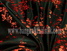 4 YDS BLACK & RED FAUX SILK SHANTUNG CHERRY BLOSSOM BROCADE FABRIC BLOUSE DRESS