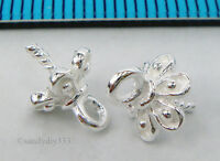 4x STERLING SILVER FLOWER BEAD CAP PENDANT CLASP PEARL BAIL PIN CONNECTOR N355