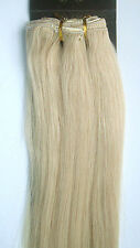 "New 22"" Remy Human Hair 16Clips In Extensions Straight 105g Platinum Blonde #60"