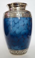 Solid Brass - Adult Cremation Urn for Ashes - Blue Iris with Silver Collar