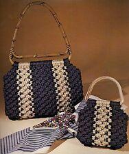 Matching Stripe Macrame Purse Patterns #1918 Macra-Mates - Vintage