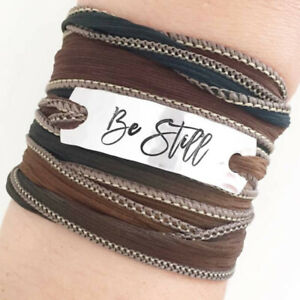 Clair Ashley BE STILL Silk Wrap BRACELET WC47 Earth Tones Handmade Ribbon + Box
