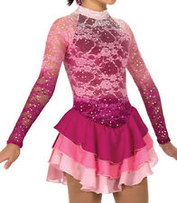 Pink Misty Lace Jerrys Skates Ice Figure Skating Competition Skate Dress 10-12