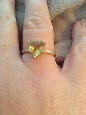 yellow quartz and diamond 14k gold womens ring