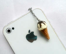 Vanilla With Chocolate Syrup Topping Ice Cream Cone Waffle Cone, Phone Charm, Cu