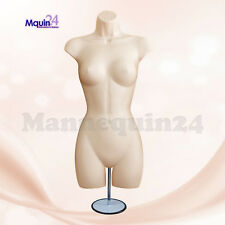 Female Torso Mannequin Dress Form - Flesh w/ Metal Stand + Hanging Hook