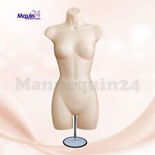 Female Torso Mannequin Dress Form Flesh With Metal Stand Hanging Hook