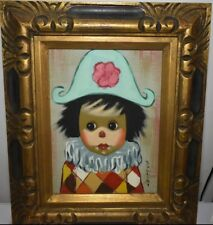 VINTAGE BOLLINI CHILD CLOWN OIL PAINTING FRAMED SIGNED