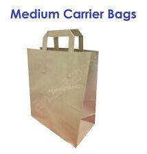 100 X Medium Brown SOS Paper Carrier Bags with Handles for Food Sandwich Lunch