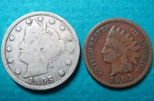 >1905, Lot of (2) Vintage 1905 LIBERTY HEAD NICKEL/LINCOLN WHEAT, Fine Coins #6