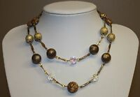 Double Strand Beaded Necklace Gold Tone Tan Brown Crackle Beads Aurora Borealis