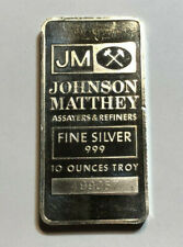 JM Johnson Matthey 10 oz .999 Fine Silver Bar, #499057