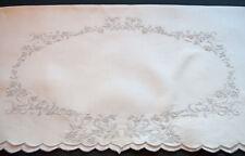 "ANTIQUE LINEN APPENZEL LINEN SHOW TOWEL WREATH DESIGN HAND EMBROIDERED 52"" x 29"""