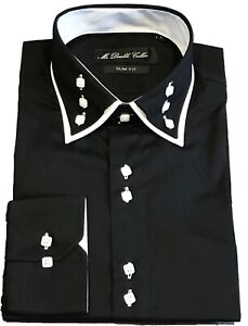 MENS STRIKING 3 BUTTON DOUBLE COLLAR BLACK COTTON SHIRT - LIMITED EDITION
