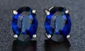 2.00 CTTW Sapphire Oval Cut 925 Sterling Silver Stud Earrings 7x4MM