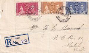 Northern Rhodesia 1937 Silver Wedding Registered FDC on piece Ndola cancel