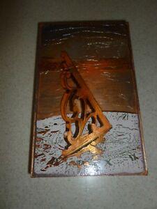 Houston Llew Ferdinand Magellan Glass On Copper Wall Hanging Decorative