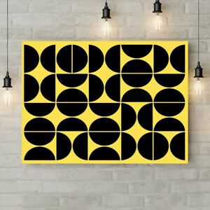 Geometric Yellow Mid Century - Canvas Rolled Wall Art Print - Various sizes