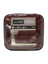 Sure Fit Stretch Twill Sofa Slipcover, 1-Piece, Wine Burgundy Maroon Red