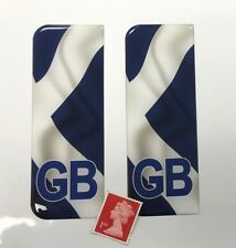 Pair of Waving Scotland Flag GB Number Plate Stickers Super Shiny Domed Finish