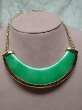 NWT $150 Kenneth Jay Lane Polished Golden Turquoise-Hue Bib Necklace