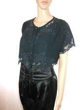 Womens Vtg Black Embroidery Formal Occasion Short Sleeve Crop Shirt Jacket AF99