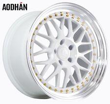 18x9.5 Aodhan AH02 5x114.3 +30 White Rims Fits 350z G35 240sx Rx8 Rx7