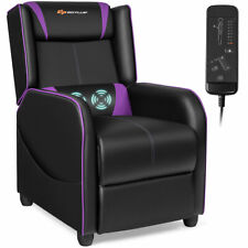 Massage Gaming Recliner Chair Single Living Room Sofa Home Theater Seat Purple