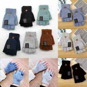Womens  Fingerless Winter 2 in 1 Gloves Combo Half Capped Warm Mittens Mens