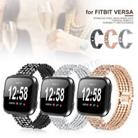 Luxury Rhinestone Stainless Steel Watch Wrist Band Strap + Film For Fitbit