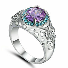 Purple Amethyst 10KT White Gold Filled Engagement Ring Women's Jewelry Size 6