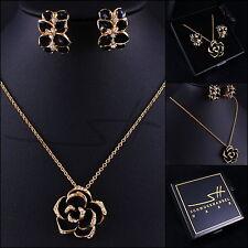 Halskette+Ohrhänger *Rose*, Gelbgold pl., Swarovski Elements, inkl Etui original