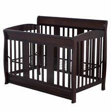 Brown Wood Baby Toddler Infant Bed Crib Nursery Adjustable Bedroom Furniture New