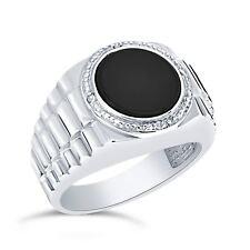 argento sterling rotondo 11MM ORIGINALE ONICE NERA & DIAMANTE UOMO anello