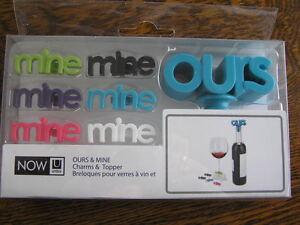 NOW Umbra OURS Wine Topper & MINE Wine Glass Charms Set of 7 Identification~~NIP