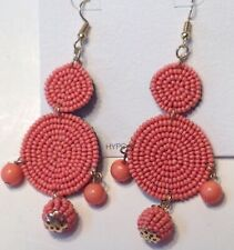 Pierced Earrings Rose Mauve Sead Beads Native Ethnic