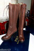 $695 Authentic Polo RALPH LAUREN Helma BROWN Burnished Calf Boots, 9.5B, Spain