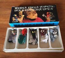 5 Marionnettes à doigts PUPPETS TOFA Zavico animaux bois tissus VINTAGE NEUF