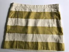 J Crew Sz 10 Pencil Straight Skirt Ivory Yellow Green Striped Linen Above Knee