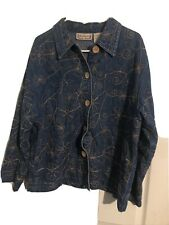 New Direction Womens Denim Floral Stitched Jean Jacket Size Large