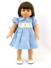 "18"" Doll Blue Plaid Smocked Easter Dress"