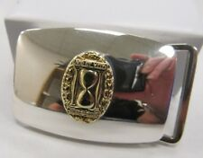 Tiffany and Co. Sterling Silver Belt Buckle with Gold tone Hourglass accent