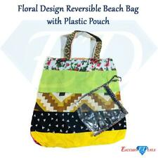 Floral Design Reversible Beach Shoulder Patterned Bag + Plastic Pouch (12)